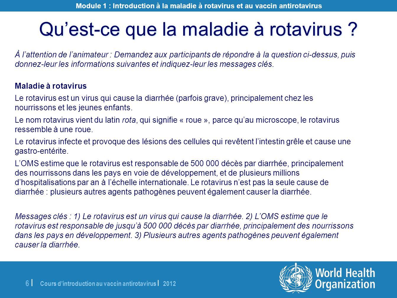 Cours dintroduction au vaccin antirotavirus | 2012 6 |6 | À lattention de lanimateur : Demandez aux participants de répondre à la question ci-dessus,