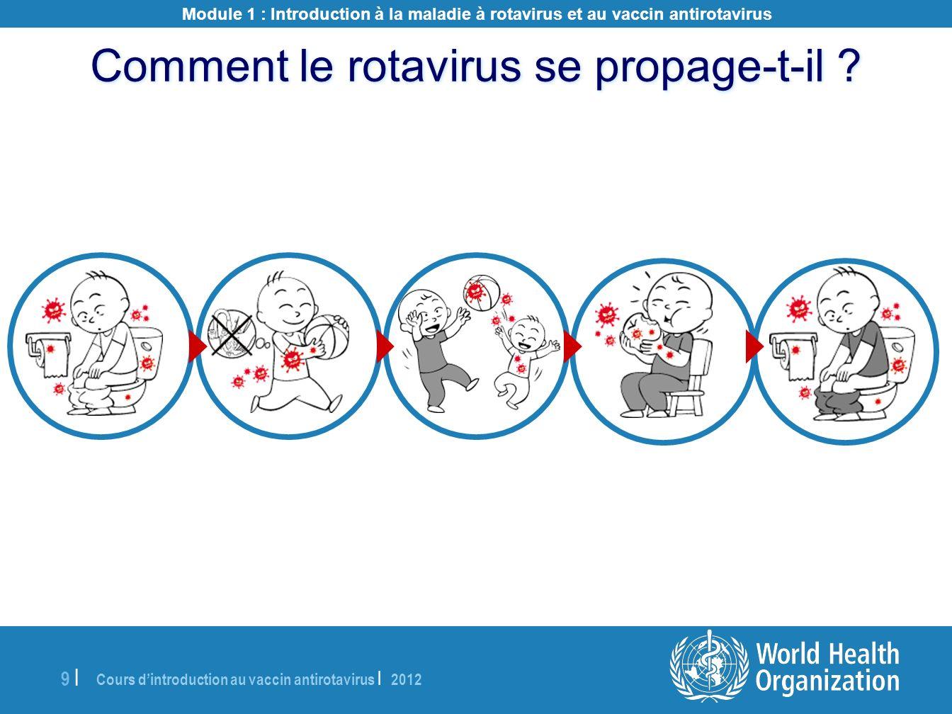 Cours dintroduction au vaccin antirotavirus | 2012 9 |9 | Comment le rotavirus se propage-t-il ? Module 1 : Introduction à la maladie à rotavirus et a