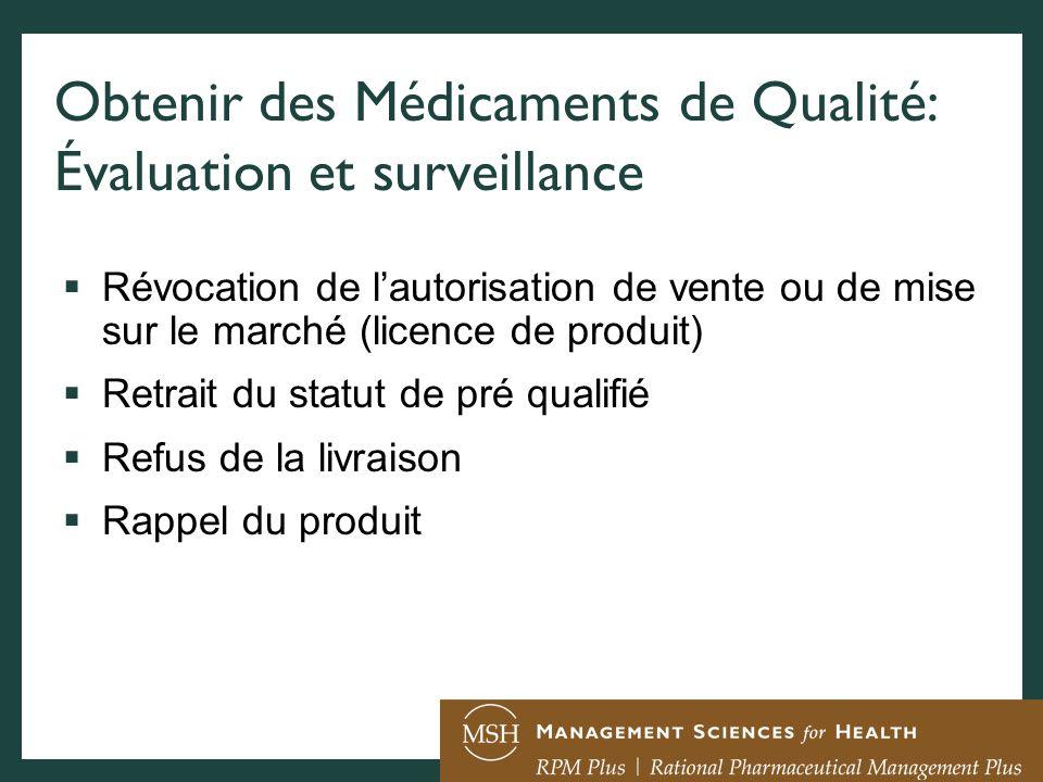 Obtenir des Médicaments de Qualité: Évaluation et surveillance Révocation de lautorisation de vente ou de mise sur le marché (licence de produit) Retr