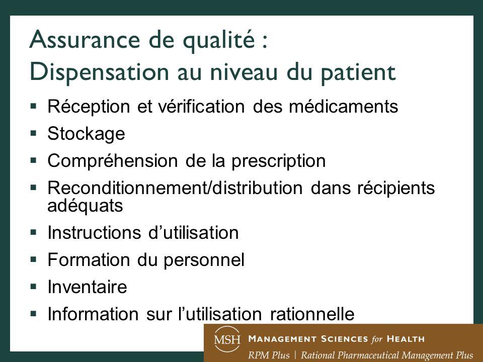 Assurance de qualité : Dispensation au niveau du patient Réception et vérification des médicaments Stockage Compréhension de la prescription Reconditi