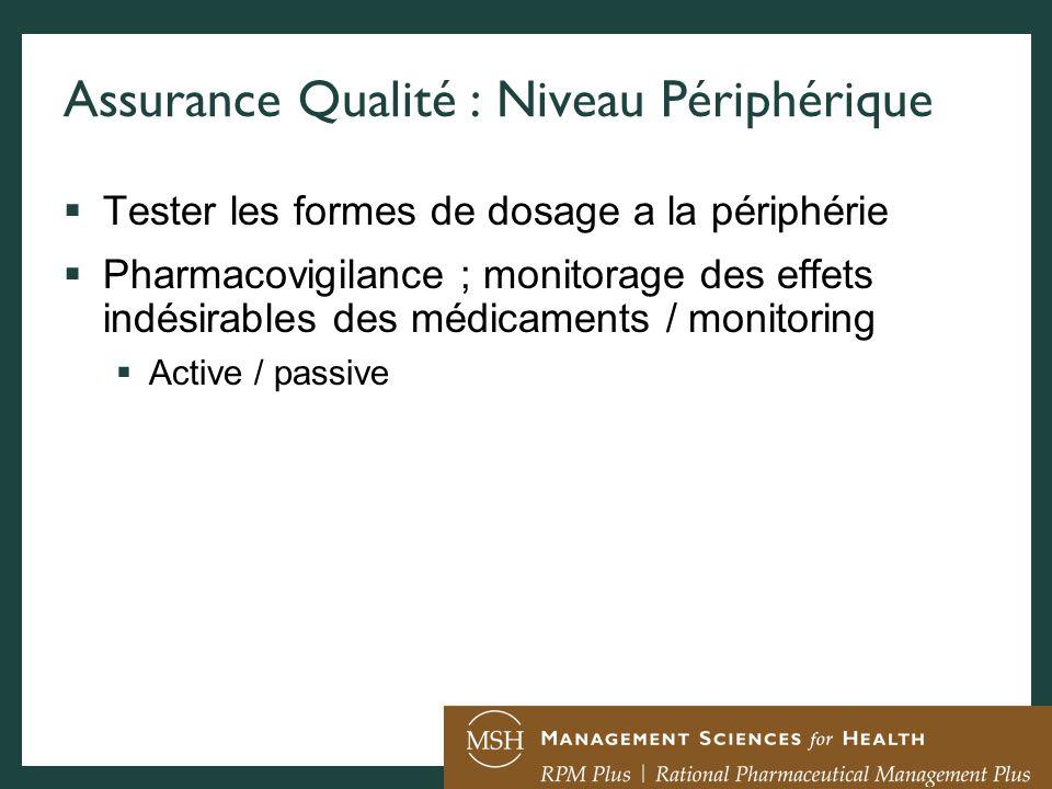 Assurance Qualité : Niveau Périphérique Tester les formes de dosage a la périphérie Pharmacovigilance ; monitorage des effets indésirables des médicam