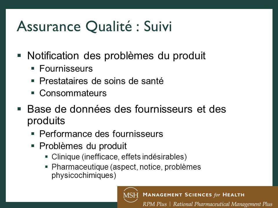 Assurance Qualité : Suivi Notification des problèmes du produit Fournisseurs Prestataires de soins de santé Consommateurs Base de données des fourniss