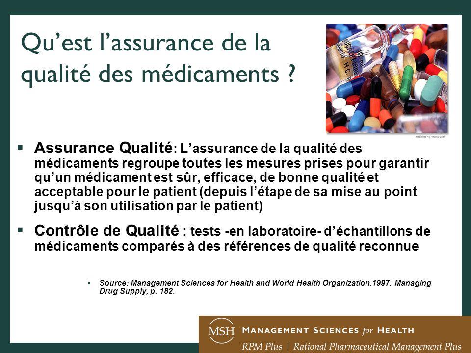 Quest lassurance de la qualité des médicaments ? Assurance Qualité : Lassurance de la qualité des médicaments regroupe toutes les mesures prises pour