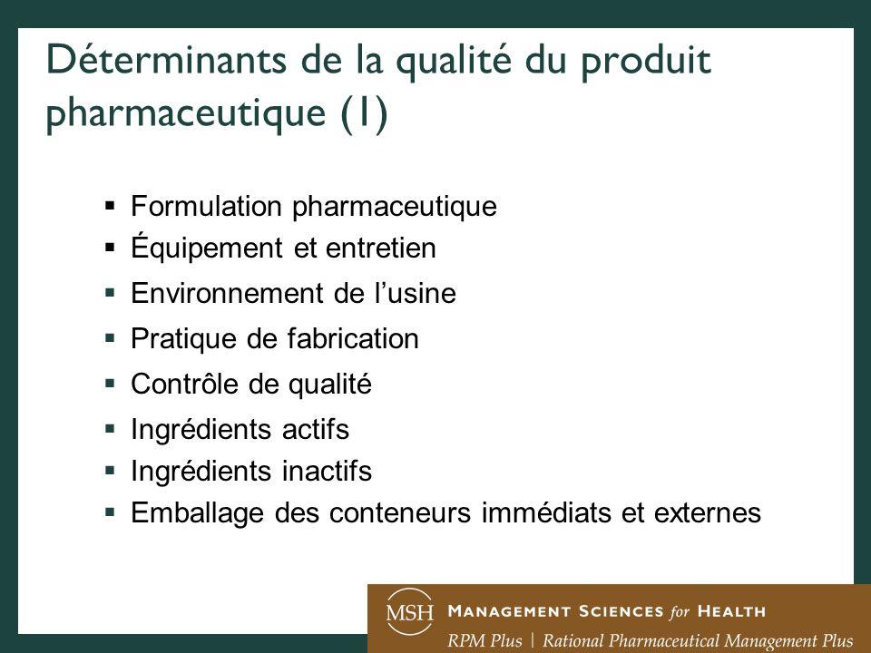 Déterminants de la qualité du produit pharmaceutique (1) Formulation pharmaceutique Équipement et entretien Environnement de lusine Pratique de fabric