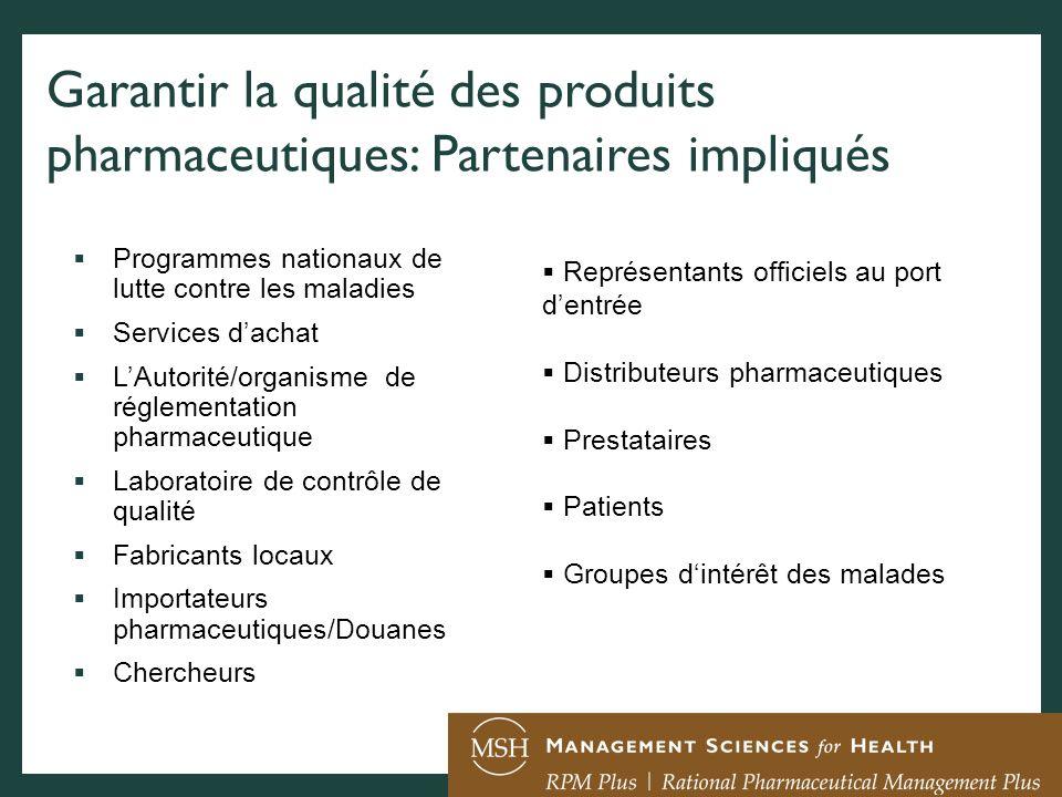 Garantir la qualité des produits pharmaceutiques: Partenaires impliqués Programmes nationaux de lutte contre les maladies Services dachat LAutorité/or