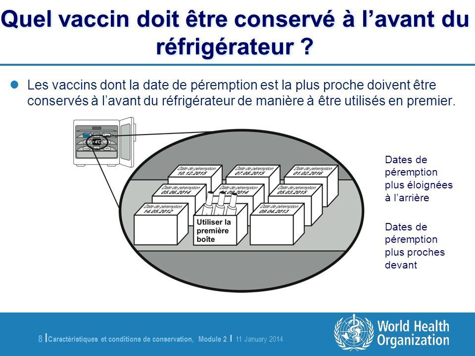 Caractéristiques et conditions de conservation, Module 2 | 11 January 2014 8 |8 | Les vaccins dont la date de péremption est la plus proche doivent êt