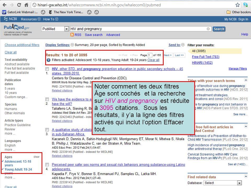 Noter comment les deux filtres Âge sont cochés et la recherche sur HIV and pregnancy est réduite à 3095 citations. Sous les résultats, il ya la ligne