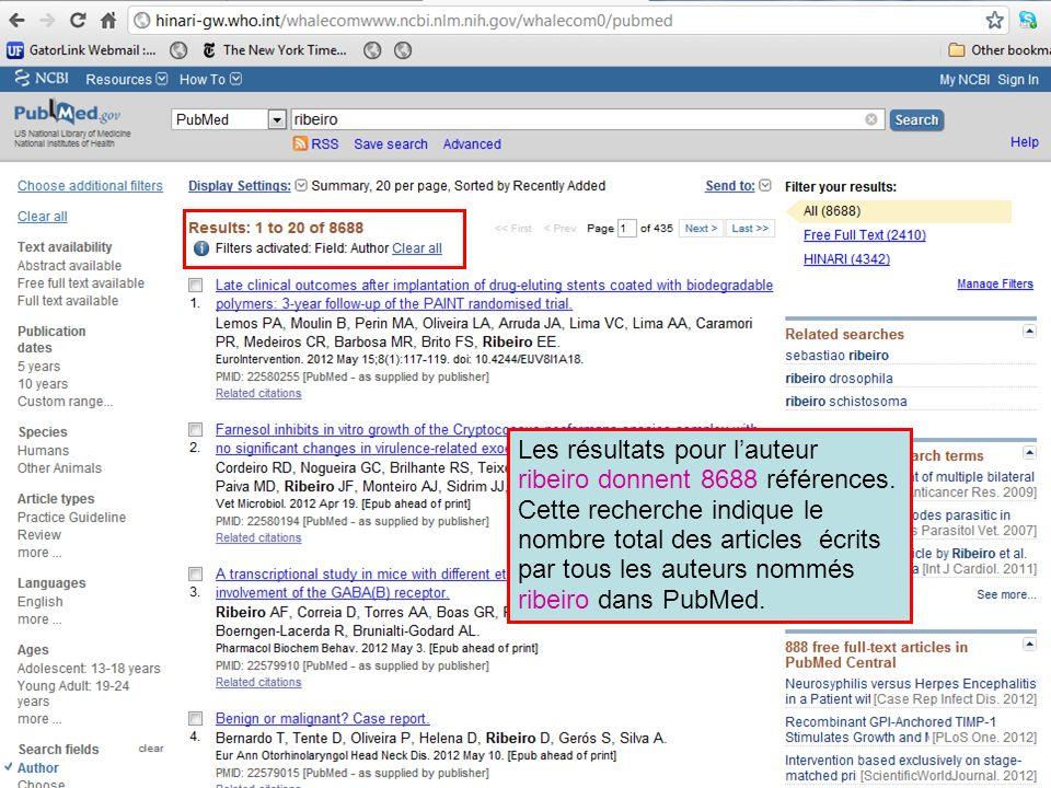 Les résultats pour lauteur ribeiro donnent 8688 références. Cette recherche indique le nombre total des articles écrits par tous les auteurs nommés ri