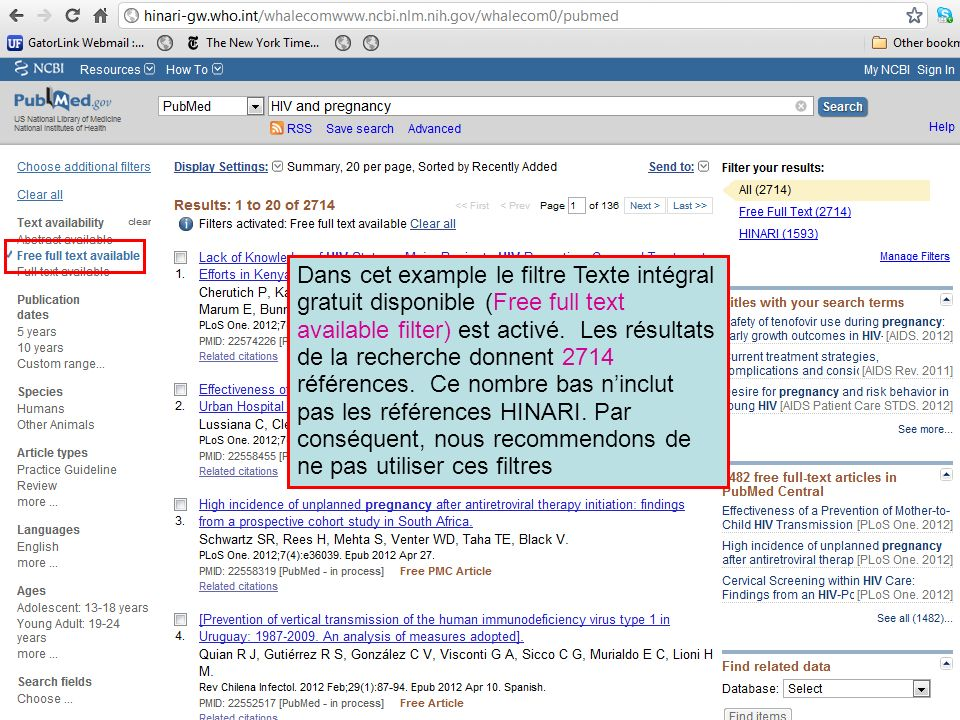 Dans cet example le filtre Texte intégral gratuit disponible (Free full text available filter) est activé. Les résultats de la recherche donnent 2714