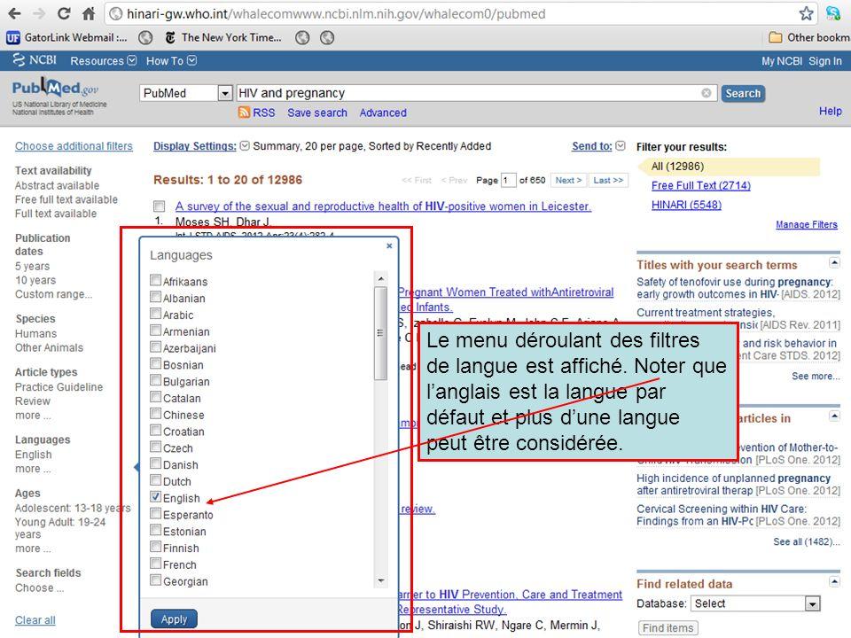 Le menu déroulant des filtres de langue est affiché. Noter que langlais est la langue par défaut et plus dune langue peut être considérée.