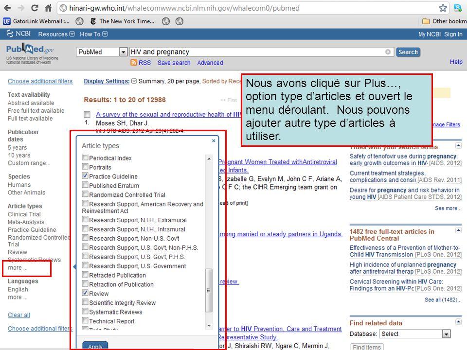 Nous sommes retournés sur la page Advanced Search Builder.