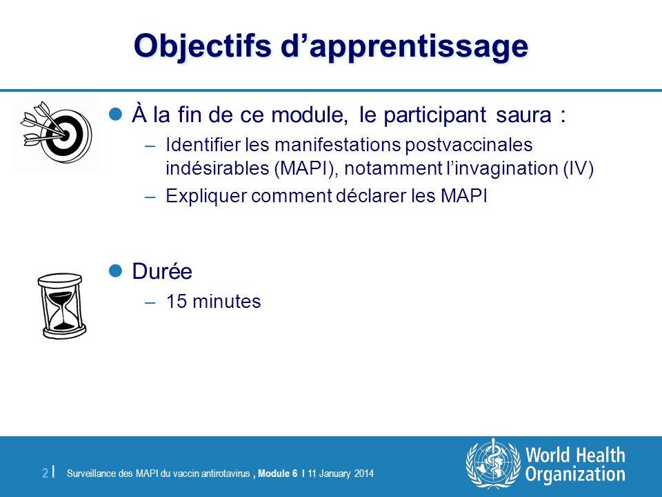 Surveillance des MAPI du vaccin antirotavirus, Module 6 I 11 January 2014 2 |2 | Objectifs dapprentissage À la fin de ce module, le participant saura