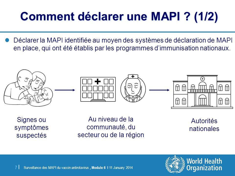 Surveillance des MAPI du vaccin antirotavirus, Module 6 I 11 January 2014 7 |7 | Déclarer la MAPI identifiée au moyen des systèmes de déclaration de M