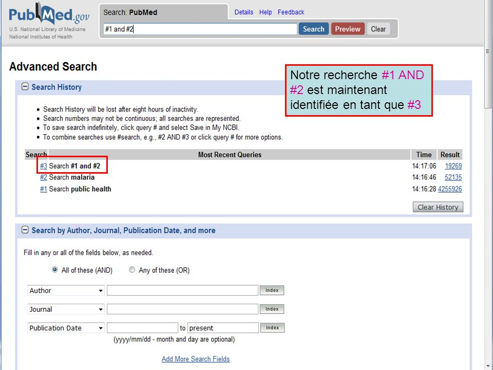 HINARI | July 2010 11 | History 10 Notre recherche #1 AND #2 est maintenant identifiée en tant que #3