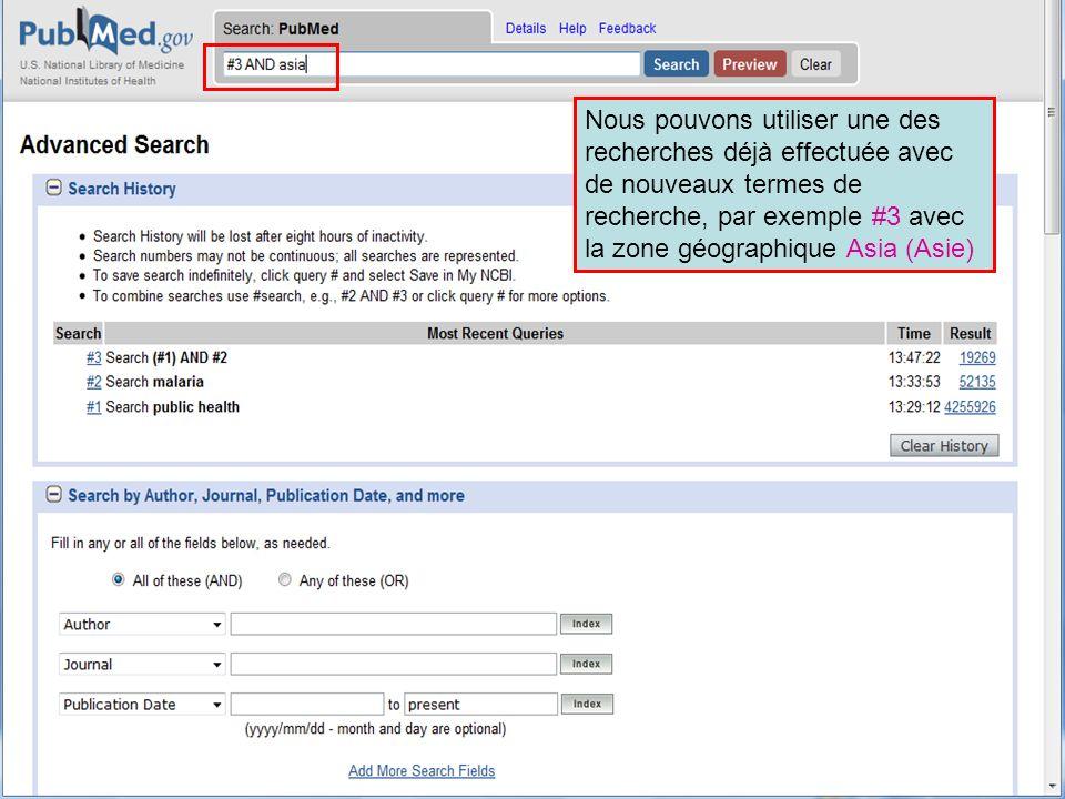 HINARI | July 2010 12 | Nous pouvons utiliser une des recherches déjà effectuée avec de nouveaux termes de recherche, par exemple #3 avec la zone géog