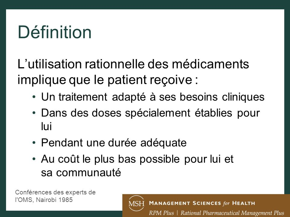 Diagnostic / suivi Prescription Dispensation Adhérence au Traitement Le processus dutilisation des médicaments