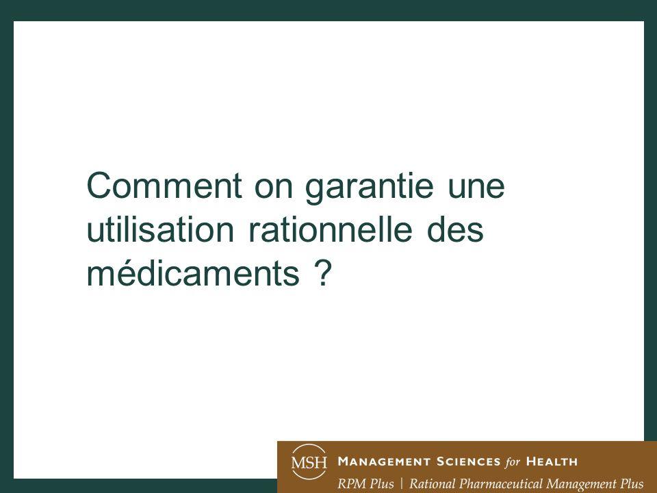 Comment on garantie une utilisation rationnelle des médicaments