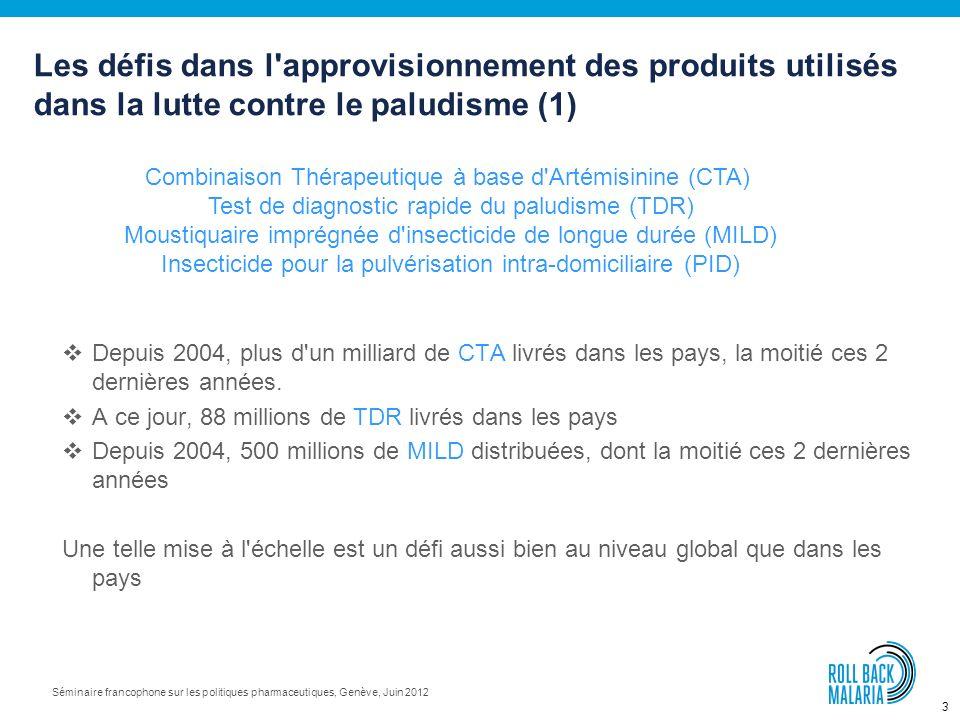 3 Séminaire francophone sur les politiques pharmaceutiques, Genève, Juin 2012 Depuis 2004, plus d un milliard de CTA livrés dans les pays, la moitié ces 2 dernières années.