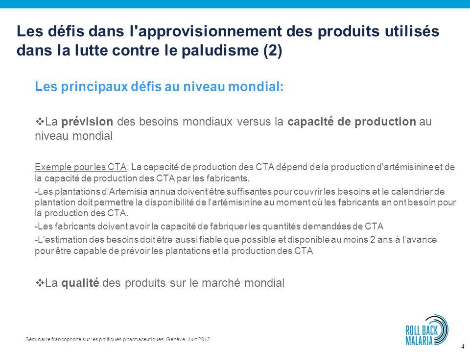 4 Séminaire francophone sur les politiques pharmaceutiques, Genève, Juin 2012 Les principaux défis au niveau mondial: La prévision des besoins mondiaux versus la capacité de production au niveau mondial Exemple pour les CTA: La capacité de production des CTA dépend de la production d artémisinine et de la capacité de production des CTA par les fabricants.