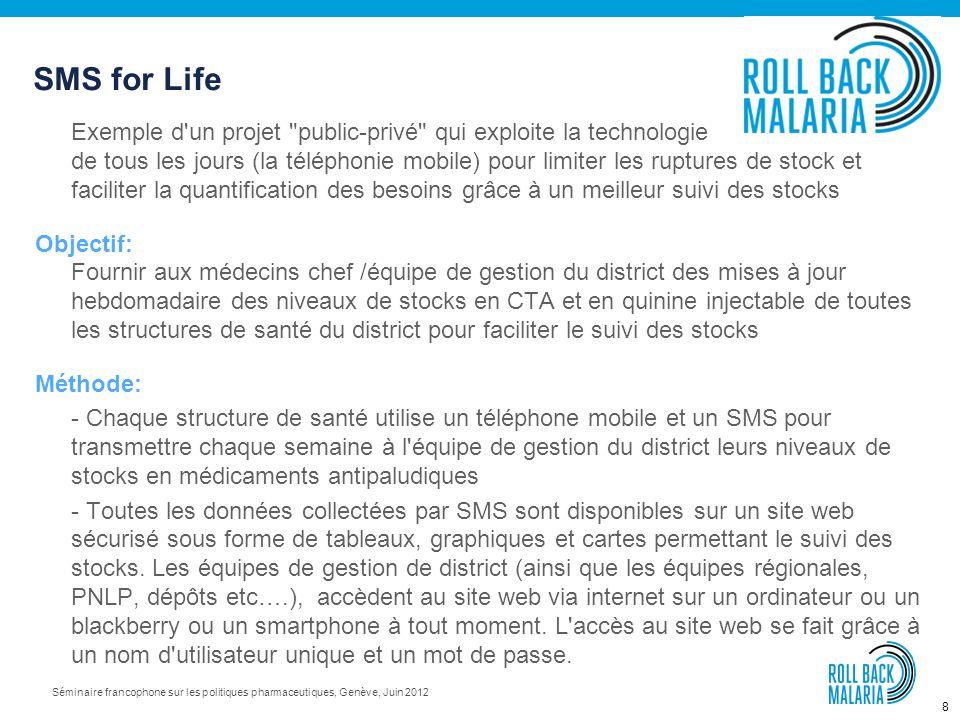 7 Séminaire francophone sur les politiques pharmaceutiques, Genève, Juin 2012 150 experts en gestion des achats et des stocks et venant de 80 institut