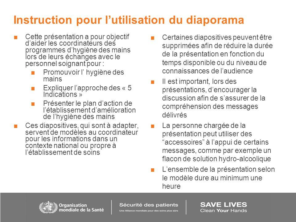 Instruction pour lutilisation du diaporama Cette présentation a pour objectif daider les coordinateurs des programmes dhygiène des mains lors de leurs