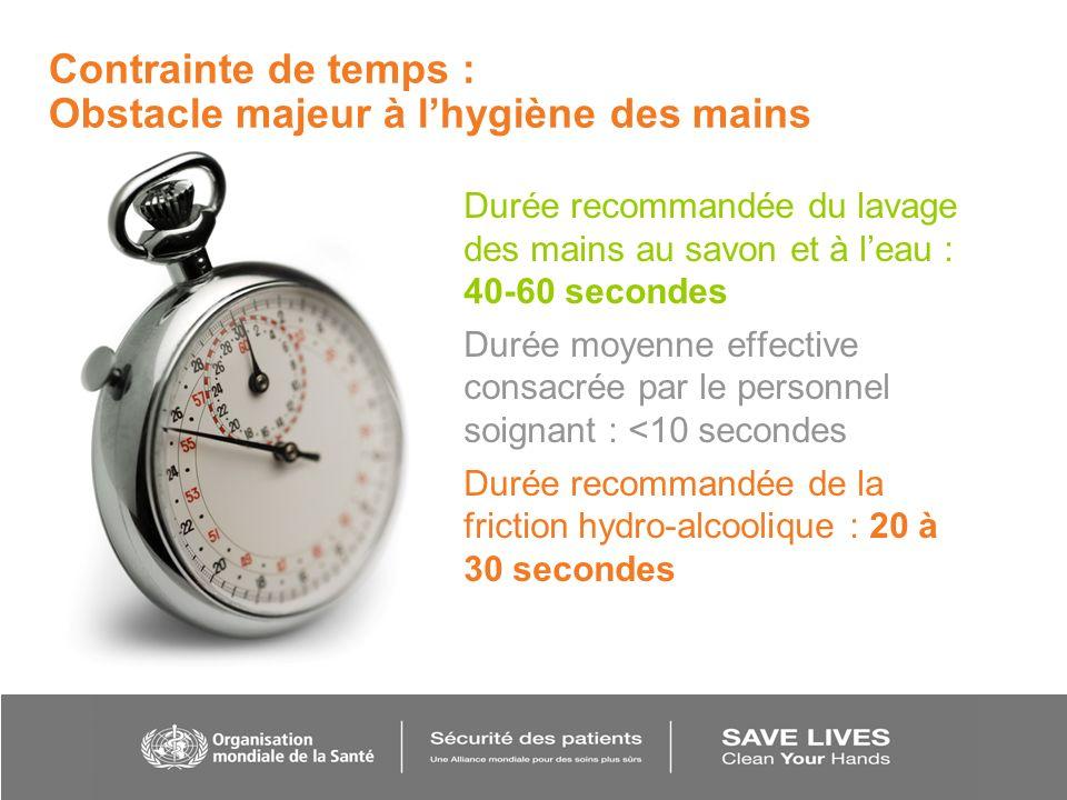 Durée recommandée du lavage des mains au savon et à leau : 40-60 secondes Durée moyenne effective consacrée par le personnel soignant : <10 secondes D