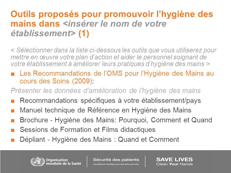 Outils proposés pour promouvoir lhygiène des mains dans (1) Les Recommandations de lOMS pour lHygiène des Mains au cours des Soins (2009): Présenter l