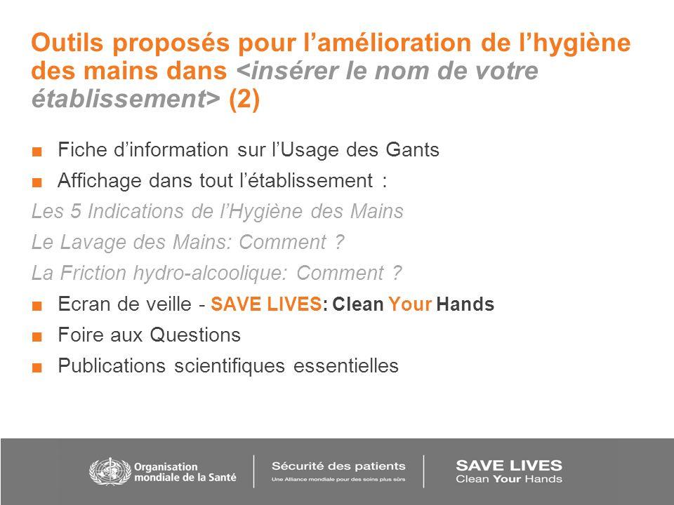 Outils proposés pour lamélioration de lhygiène des mains dans (2) Fiche dinformation sur lUsage des Gants Affichage dans tout létablissement : Les 5 I