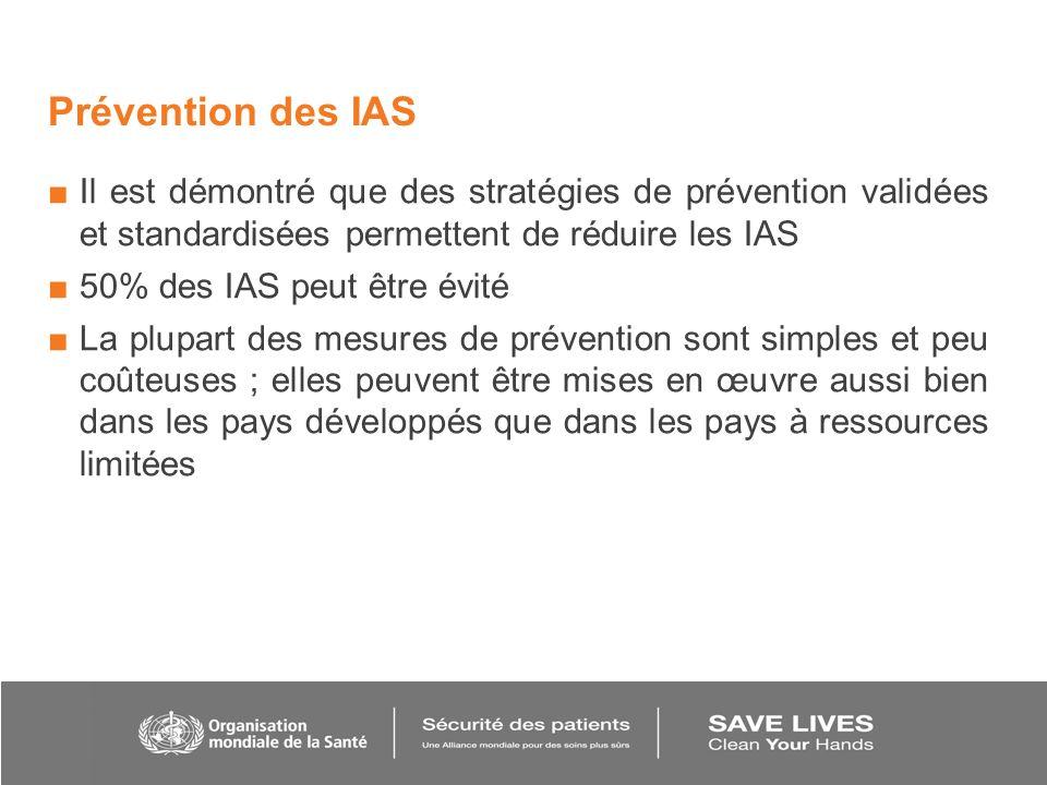 Prévention des IAS Il est démontré que des stratégies de prévention validées et standardisées permettent de réduire les IAS 50% des IAS peut être évit