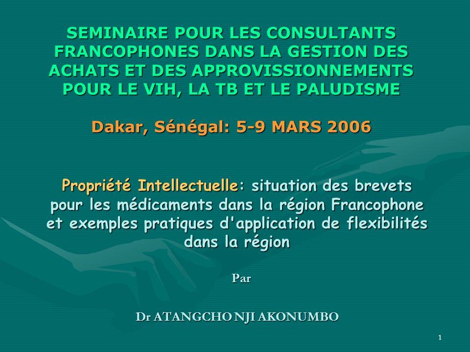 2Objectif Découvrir comment les pays en voie de développement dAfrique francophone surtout, peuvent sapprovisionner en médicaments essentiels répondant à des normes de qualité, faces aux exigences de DPI.