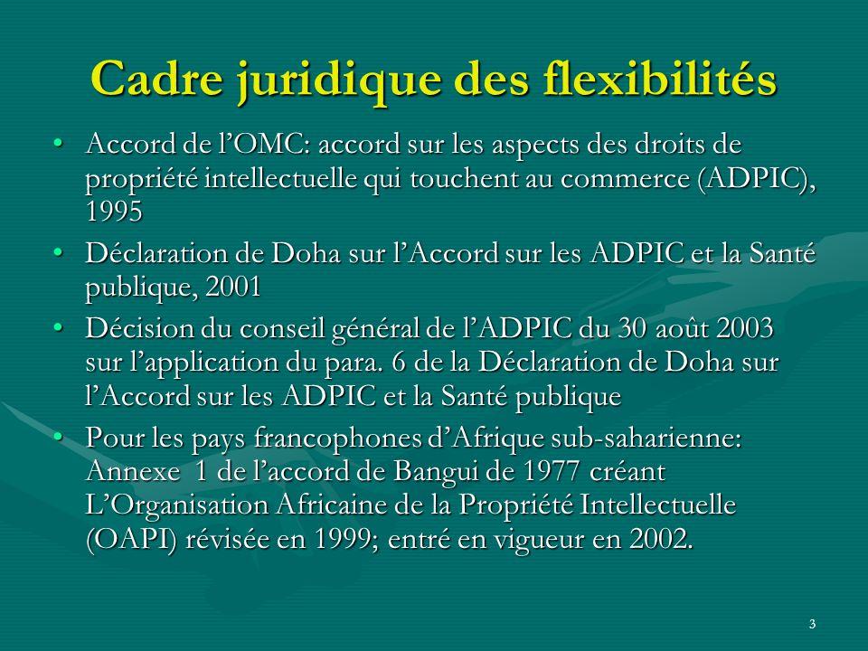 3 Cadre juridique des flexibilités Accord de lOMC: accord sur les aspects des droits de propriété intellectuelle qui touchent au commerce (ADPIC), 1995Accord de lOMC: accord sur les aspects des droits de propriété intellectuelle qui touchent au commerce (ADPIC), 1995 Déclaration de Doha sur lAccord sur les ADPIC et la Santé publique, 2001Déclaration de Doha sur lAccord sur les ADPIC et la Santé publique, 2001 Décision du conseil général de lADPIC du 30 août 2003 sur lapplication du para.