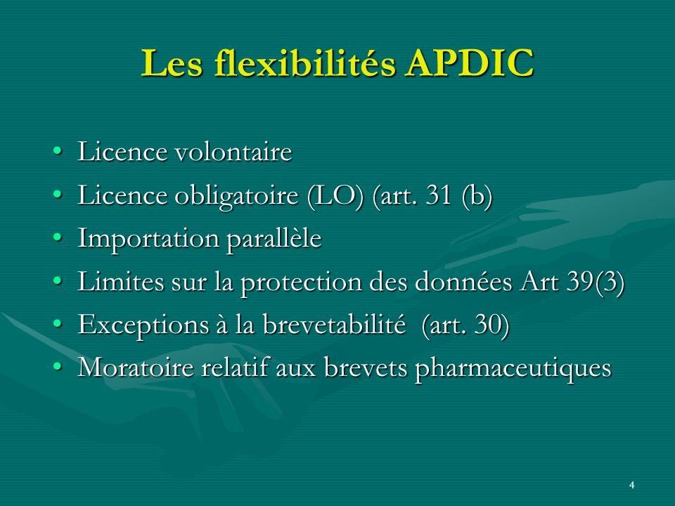 4 Les flexibilités APDIC Licence volontaireLicence volontaire Licence obligatoire (LO) (art. 31 (b)Licence obligatoire (LO) (art. 31 (b) Importation p