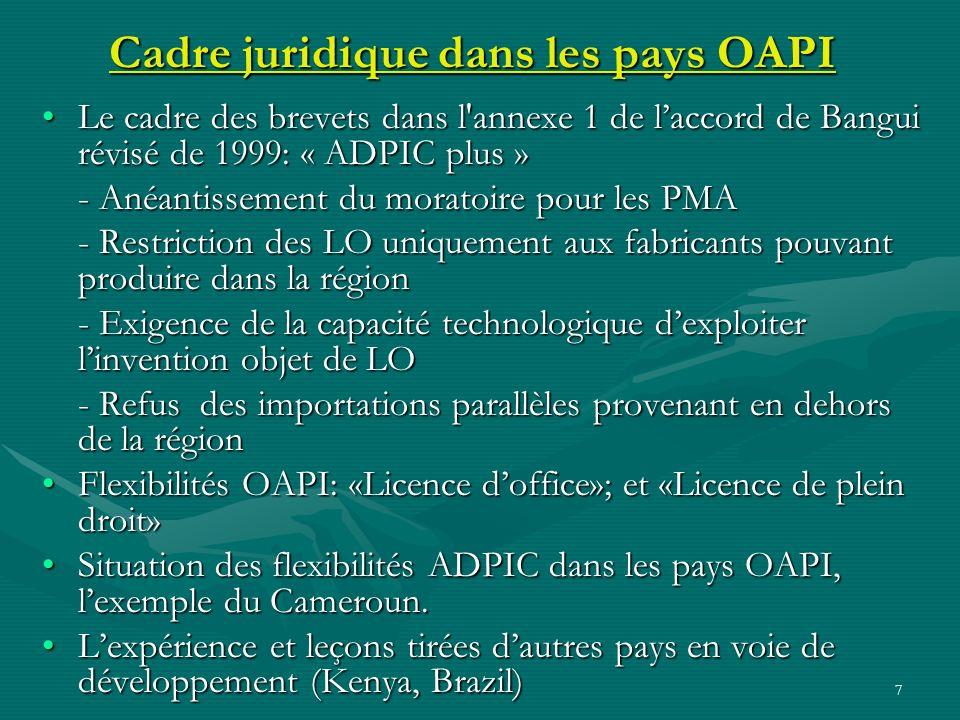 7 Cadre juridique dans les pays OAPI Le cadre des brevets dans l'annexe 1 de laccord de Bangui révisé de 1999: « ADPIC plus »Le cadre des brevets dans