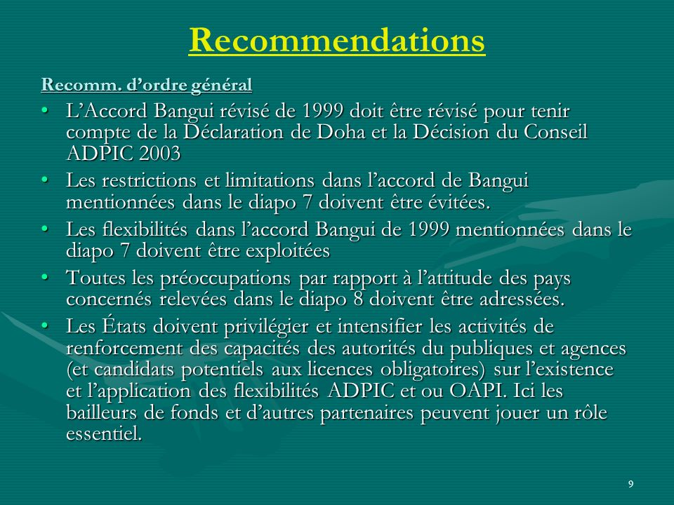 9 Recommendations Recomm.