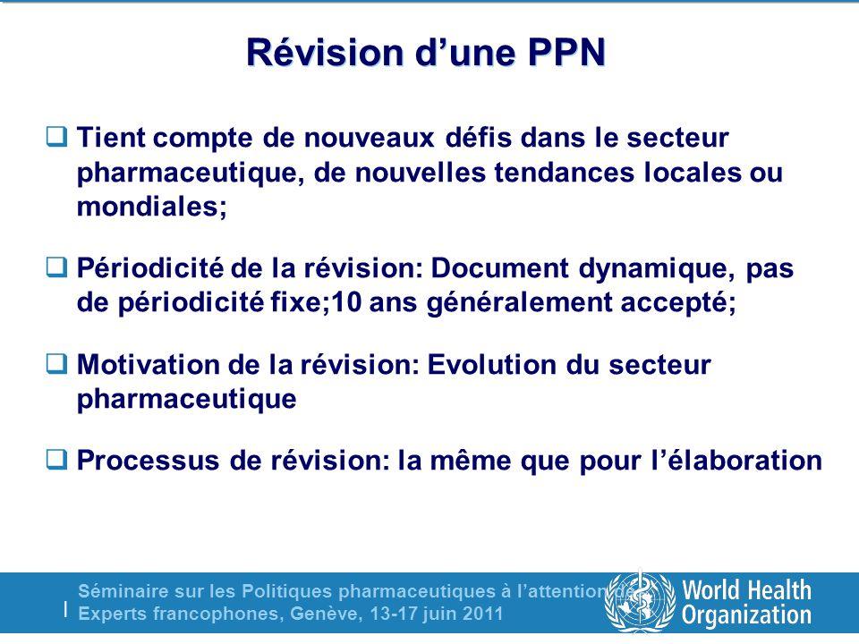 Séminaire sur les Politiques pharmaceutiques à lattention des Experts francophones, Genève, 13-17 juin 2011 | Révision dune PPN Tient compte de nouvea
