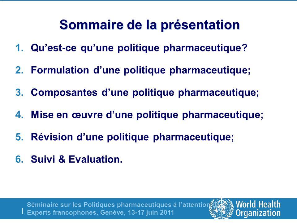 Séminaire sur les Politiques pharmaceutiques à lattention des Experts francophones, Genève, 13-17 juin 2011 | Sommaire de la présentation 1.Quest-ce q