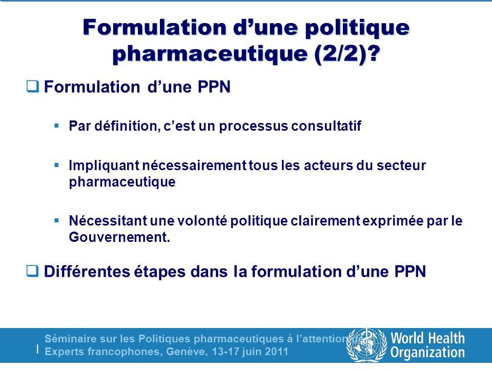 Séminaire sur les Politiques pharmaceutiques à lattention des Experts francophones, Genève, 13-17 juin 2011 | PHASES DANS LELABORATION DUNE PPN 7 PUBLICATION DE LA PPN 6 APPROBATION DU GOUVERNEMENT 8 LANCEMENT DE LA PPN 4 VULGARISATION DU PROJET DE PPN 9 PLANIFICATION DE LA MISE EN OEUVRE 10 MISE EN ŒUVRE/SUIVI/EVALUATION 1 MISE EN PLACE DUN GROUPE DE TRAVAIL 2 ANALYSE DE LA SITUATION 3 FORMULATION DU PROJET DE PPN 5 ATELIER DE CONSENSUS ENGAGEMENT POLITIQUE DU GOUVERNEMENT