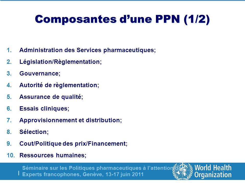 Séminaire sur les Politiques pharmaceutiques à lattention des Experts francophones, Genève, 13-17 juin 2011 | Composantes dune PPN (1/2) 1.Administrat