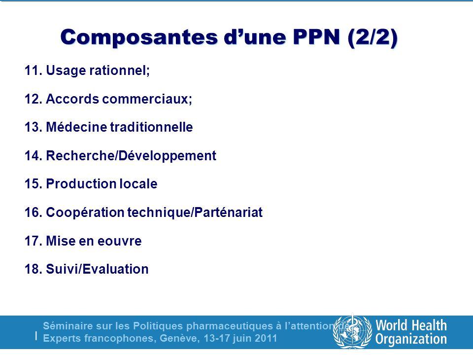 Séminaire sur les Politiques pharmaceutiques à lattention des Experts francophones, Genève, 13-17 juin 2011 | Composantes dune PPN (2/2) 11. Usage rat
