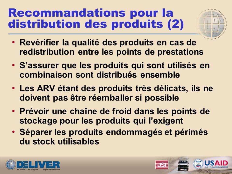 Recommandations pour la distribution des produits (1) Intégrer le stockage et la distribution des ARVs et des tests VIH si possible et étudier la poss