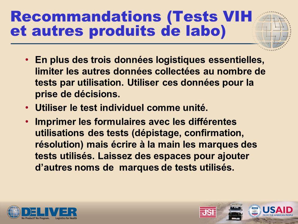 Recommandations (ARVs) En plus des trois données logistiques essentielles, limiter les données sur les clients au nombre de clients par traitement. Ut