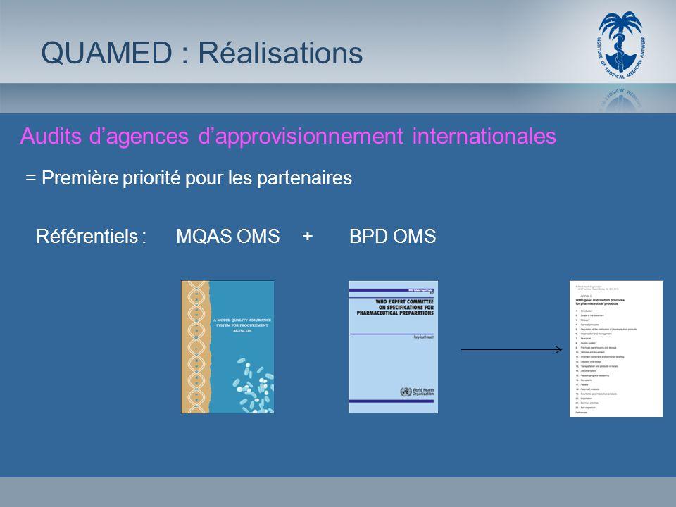Audits dagences dapprovisionnement internationales QUAMED : Réalisations = Première priorité pour les partenaires Référentiels :MQAS OMS+ BPD OMS