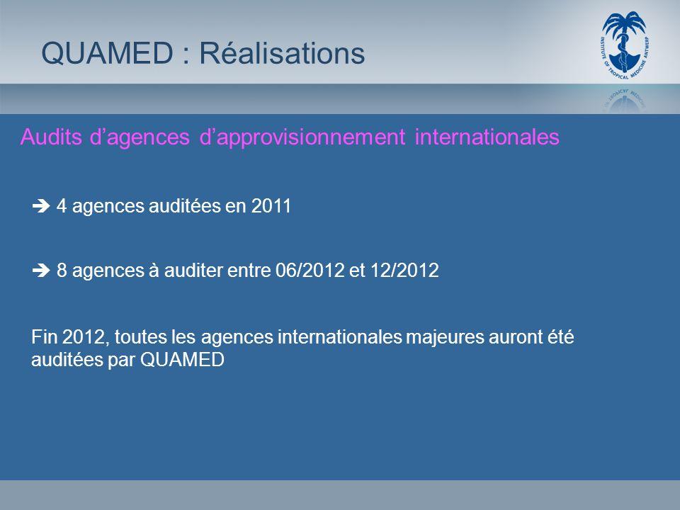 Audits dagences dapprovisionnement internationales QUAMED : Réalisations 4 agences auditées en 2011 8 agences à auditer entre 06/2012 et 12/2012 Fin 2