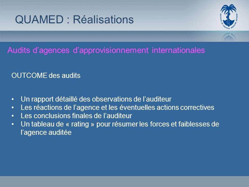 Audits dagences dapprovisionnement internationales QUAMED : Réalisations OUTCOME des audits Un rapport détaillé des observations de lauditeur Les réac