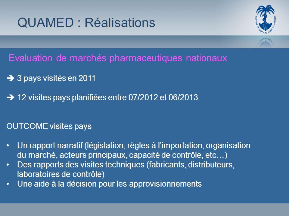 Evaluation de marchés pharmaceutiques nationaux QUAMED : Réalisations 3 pays visités en 2011 12 visites pays planifiées entre 07/2012 et 06/2013 OUTCO