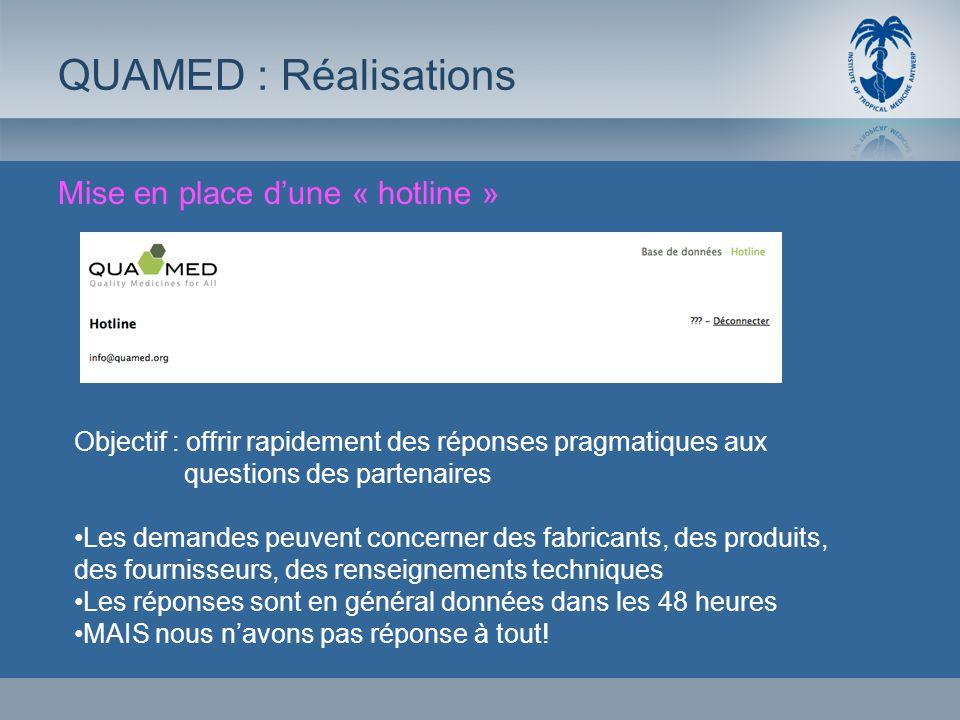 Mise en place dune « hotline » QUAMED : Réalisations Objectif : offrir rapidement des réponses pragmatiques aux questions des partenaires Les demandes