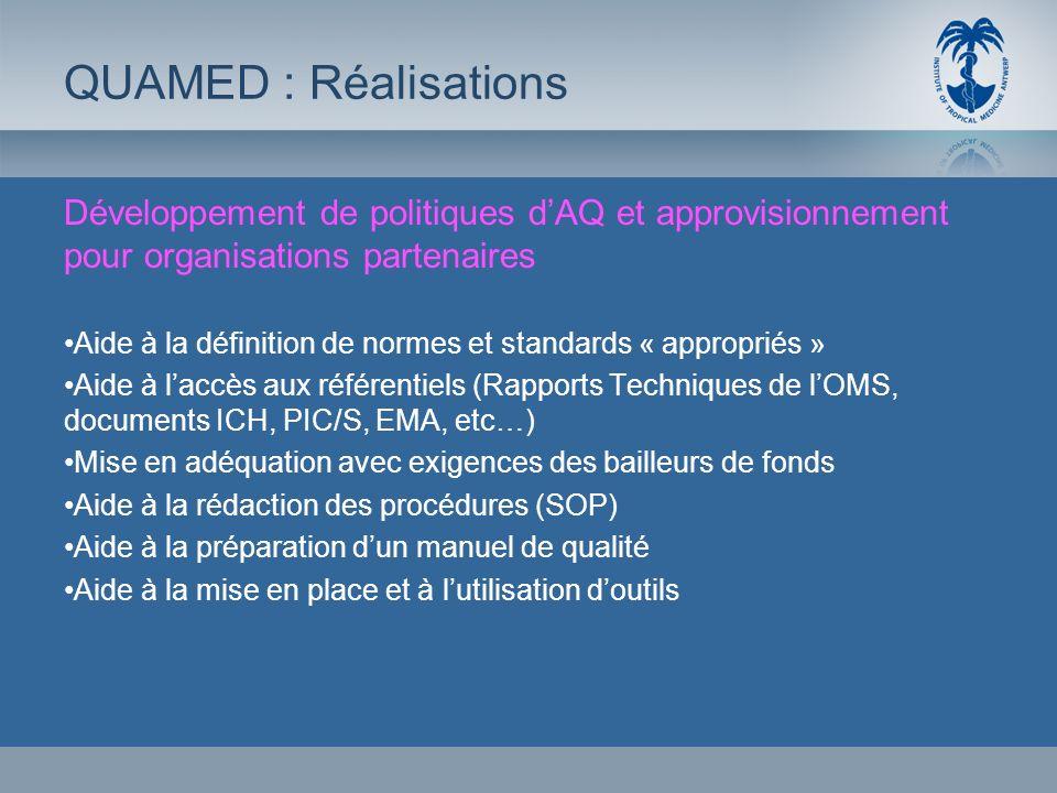 Développement de politiques dAQ et approvisionnement pour organisations partenaires Aide à la définition de normes et standards « appropriés » Aide à