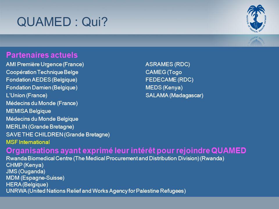 Partenaires actuels AMI Première Urgence (France)ASRAMES (RDC) Coopération Technique BelgeCAMEG (Togo Fondation AEDES (Belgique)FEDECAME (RDC) Fondati