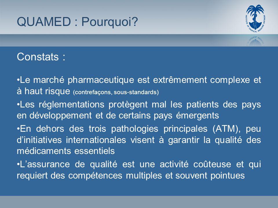 Constats : Le marché pharmaceutique est extrêmement complexe et à haut risque (contrefaçons, sous-standards) Les réglementations protègent mal les pat