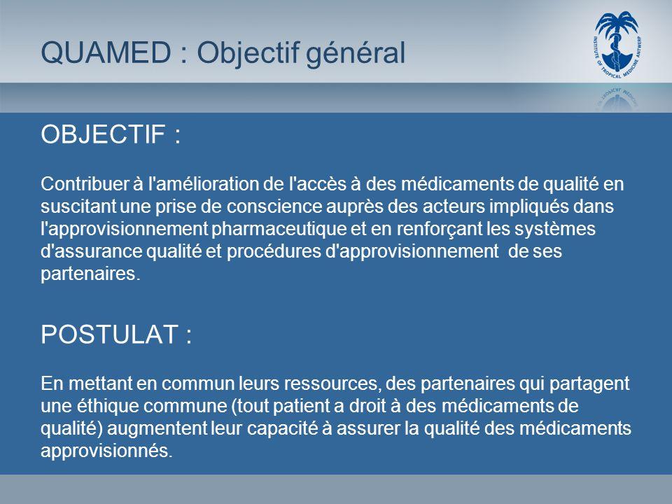 OBJECTIF : Contribuer à l'amélioration de l'accès à des médicaments de qualité en suscitant une prise de conscience auprès des acteurs impliqués dans